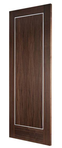 Verona Walnut (FD30) bespoke fire door  features polished Chrome inlays