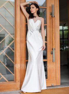 Trumpet/Mermaid Off-the-Shoulder Floor-Length Satin Tulle Evening Dress With Ruffle Sequins (017050423)
