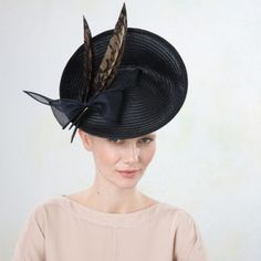 Eliza- Upturn Disc with Angular Feather Headband by Jane Taylor Millinery