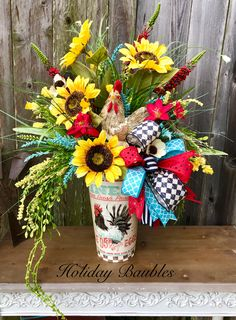 Rooster Floral Arrangement by Holiday Baubles