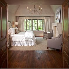 Elegant and Rustic Bedroom - the floors are gorgeous,