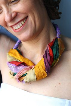 Fabric necklace from silk sari ribbons, short colrful necklace, boho textile necklace, gift for her by kokona on Etsy