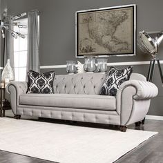 Furniture of America Augusta Victorian Grey Sofa - Overstock Shopping - Great Deals on Furniture of America Sofas & Loveseats