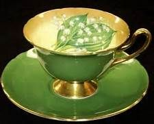 ... Lily of Valley Gainsborough Gold Green Tea Cup and Saucer | eBay