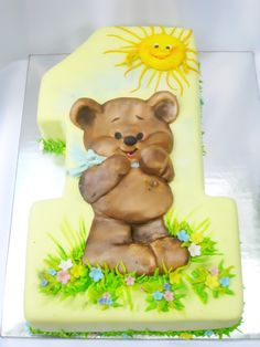 Teddy Bear Cakes, Homemade Sweets, Fake Cake, Funny Cake, Number Cakes, Painted Cakes, Cake Pictures, Cake Decorating Techniques, First Birthday Cakes
