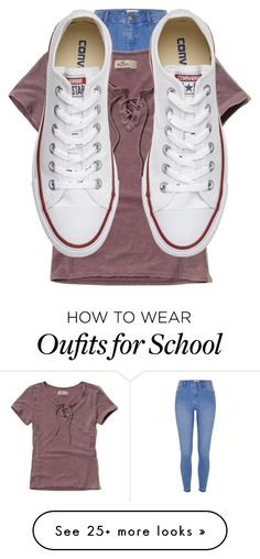 """Made at school 😉"" by lolgirl07 on Polyvore featuring River Island, Hollister Co. and Converse"