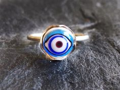 Sterling Silver Evil Eye Lampwork Glass Ring by GlassHouseLampwork