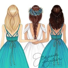 Working on new brides & bridesmaids art prints for By popular request, in addition to choosing hair colors and skin tones, you can also customize the bridesmaids' dress colors! (Scroll through to see more color options) Stay tuned for when the new prints Best Friend Drawings, Girly Drawings, Fashion Design Drawings, Fashion Sketches, Girly M, Sisters Art, Cute Girl Drawing, Bridesmaid Dress Colors, Bff Pictures