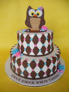 Brown, Pink & Blue Harlequin Owl Cake So Cute! Unique Cakes, Creative Cakes, Creative Food, Cupcakes, Cupcake Cakes, Fruit Cakes, Owl Cakes, Ladybug Cakes, Occasion Cakes