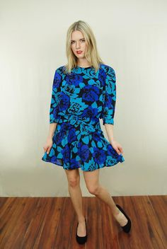 Vtg 70s Vivid Blue Floral Draped Peplum Bow Secretary Party Mini Dress Small | eBay