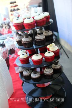 Use old records as a cupcake stand...cute idea for a candy/treat bar