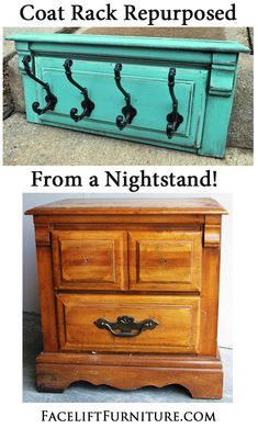 Coat Rack Repurposed from a Nightstand ~ from Facelift Furniture's DIY Blog.