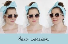 see kate sew: vintage inspired headwraps for summer topknots.   tutes for basic headband, bow version, knotted version.