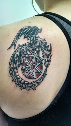 An ouroboros dragon-circle of life- wrapped around the faerie or elven star-1 power, personal will and determination, 2 unconditional love, wisdom and growth, 3 knowledge and intelligence, 4 harmony and tranquillity, 5 powers of mind and science,6 devotion and honesty,7 magick- tattoo