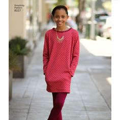 Girls and Girls Plus Jacket, Dress and Knit Leggings from Mimi G Style Simplicity Sewing Pattern 8227 | Sew Essential