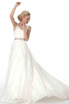 Modern+A-Line+V+Neck+Court+Train+Tulle+Wedding+Dress+Alb12289