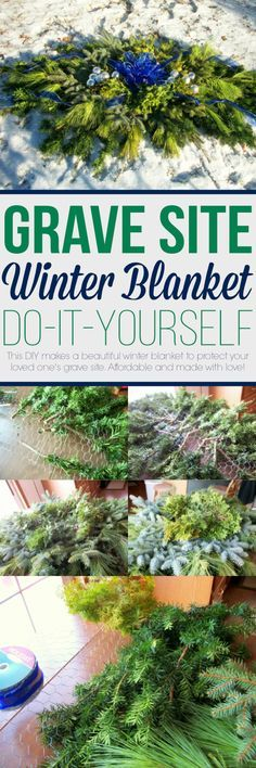 Detailed instructions to make a winter blanket to protect your loved love's grave site. Making them yourself is more affordable and made with love! #grave #diy #flowers #winter #blanket