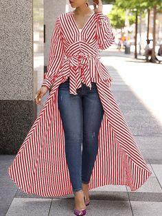 V-Neck Striped Tie Waist Dip Asymmetrical Hem blouse for women chic blouse for women chic casual blouse for women chic style blouse for women chic fashion designers blouse for women chic shirts Trend Fashion, Womens Fashion, Ladies Fashion, Fashion Ideas, Cheap Fashion, Autumn Fashion, Mode Hijab, Long Blouse, Mode Outfits