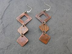 Geometric Diamond Etched Copper and Sterling SIlver by BooBeads, $39.00