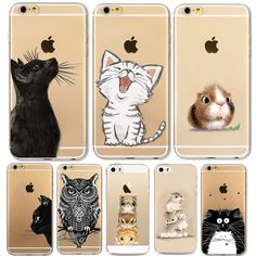 Phone Case For Apple iPhone 6 6S 6Plus 6s Plus 4 4S 5 5S SE Soft TPU Silicon Transparent Cover Cute Cat Owl Animal Phone Cases //Price: $8.95 & FREE Shipping //     #catstuff