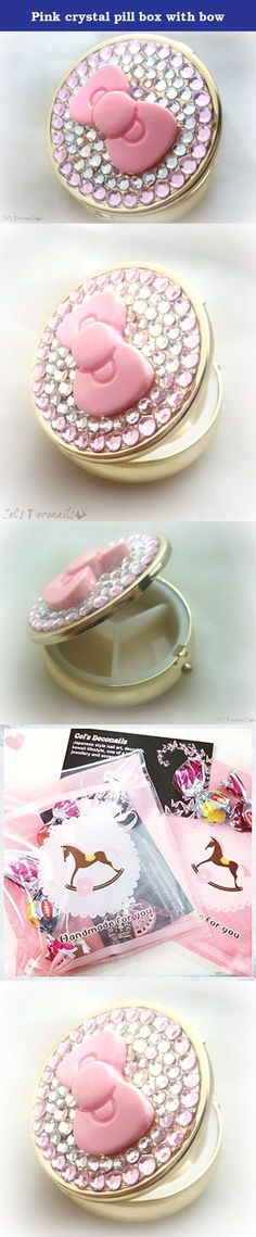 Pink crystal pill box with bow. Travel in style with this cute rhinestone golden pill case, decorated with a lovely pink bow and high quality crystals. This cute pill box has 3 compartments. It can be used as a pill box, a mint case or even as a jewelry box. It has a diameter of 5 cm. Comes in an organza pouch, so you can carry it safely in your bag. All items ship carefully packaged in bubble wrap envelopes by registered mail. Tracking number and proof of postage will be provided.