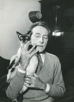 Serge Lido - Jean Cocteau with cat, c.1960.  … via Daniel Blau