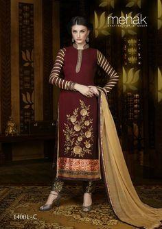 INDIAN SALWAR KAMEEZ SUIT PAKISTANI EMBROIDERY DESIGNER ETHNIC DRESS MATERIAL_2