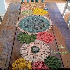 Table Runner from Lace Doilies for Country Cottage Decor Dyed vintage doily spring table runner by Sadie Seasongoods / Dyed vintage doily spring table runner by Sadie Seasongoods / Doilies Crafts, Lace Doilies, Crochet Doilies, Crochet Tablecloth, Crochet Granny, Free Crochet, Doily Art, Lace Art, Sewing Projects