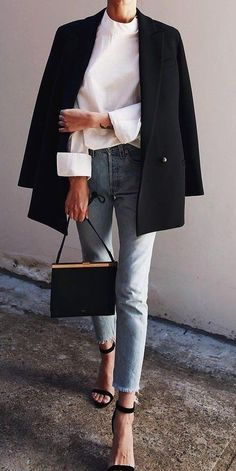 Frayed Denim and Black Blazer #sophisticated #style #fashionista