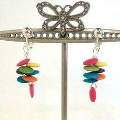 Handmade-earrings-clip-on-dangle-disk-hot-pink-aqua-orange-green-yellow-Pat2