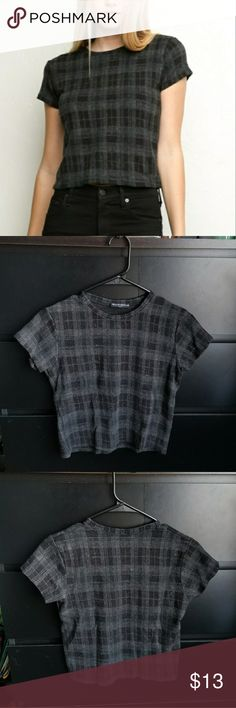 Brandy Melville Plaid Tee Used once.  >> MY PRICES ARE ALREADY REASONABLY LOW, SO PLEASE DO NOT OFFER HALF OR LESS THAN HALF. *Offering me $3-$4 leaves me with $0-$1.  >> I usually do not decline offers unless they are lowballs. I accept most offers, if reasonable. Brandy Melville Tops Tees - Short Sleeve