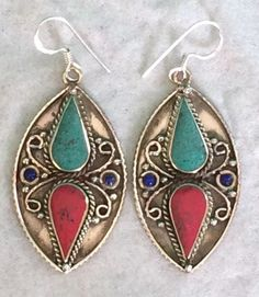 Silver Hook Tibetan Style Earring from Nepal