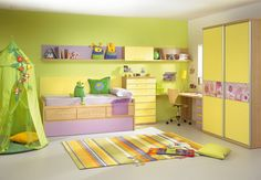 yellow green and purple room
