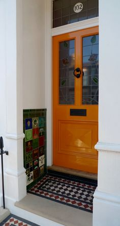 london door victorian style porch tiles and Yorkstone brockley london london door victorian style porch tiles and Yorkstone brockley london Porch Interior, Front Door Colors, House With Porch, Victorian Door, Victorian Front Doors, Victorian Porch, Porch Tile, Victorian Front Garden, Porch Wall Tiles