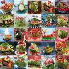 Watermelon Sculpture Montage