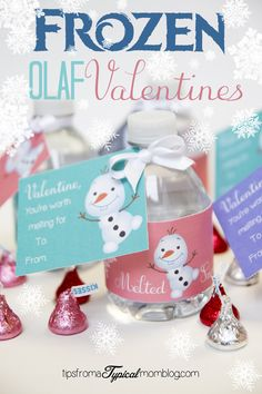 """Free Frozen Valentines! These Olaf from Frozen """"You're Worth Melting For"""" Valentines Free Printables are so cute! Easy, Healthy, Non-Candy Valentines."""