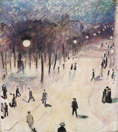 "huariqueje: "" Tram Station, Stortingsgaten - Arne Kavli Norwegian, Oil on canvas, 69 x 60 cm. Renoir, Pablo Picasso, Monet, Oil On Canvas, Illustration, Pictures, Painting, Oslo, Consideration"