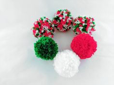 Christmas Puffs Cat Toy Ball Set of 6, Handmade Pom Poms, Optional Catnip, Christmas Gifts for Cats, Kitten Play by oddballcattoys on Etsy