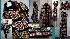 Granny Square Coatscarf hoody jacket friform hand