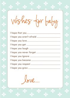 Sweet, free, printable cards for the perfect baby shower