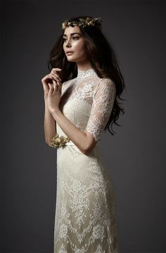 3/4 length sleeve lace dress by Catherine Deane