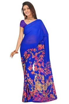 blue saree with pink blossom print