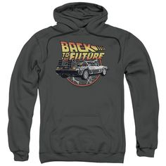 Back To The Future/Time Machine Adult Pull-Over Hoodie in Charcoal