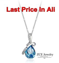 New 2013 silver Plated Austrian Crystal water drop Necklace & Pendants made with Swarovski Elements cheap jewelry  Free Shipping-in Pendants...