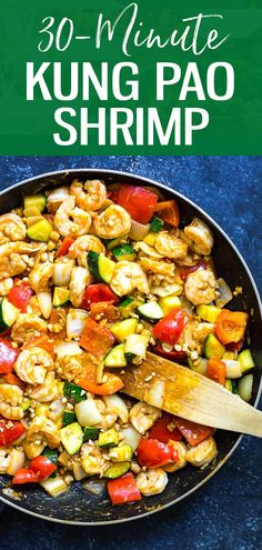 This Kung Pao Shrimp is a delicious quick and easy stir fry that's perfect for getting dinner on the table quickly! This Kung Pao Shrimp is a delicious quick and easy stir fry that's perfect for getting dinner on the table quickly! Fish Recipes, Lunch Recipes, Seafood Recipes, Paleo Recipes, Asian Recipes, Whole Food Recipes, Dinner Recipes, Chinese Recipes, Meatball Recipes