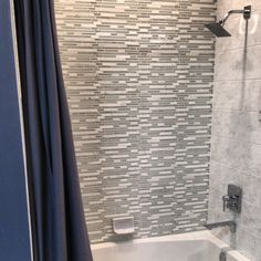 Avery bath surround one wall Winter Inspired Marble and Glass Mosaic: Snow Stria 12 x 12 in Stone Mosaic Tile, Mosaic Glass, Mosaic Tiles, Bathroom Tile Designs, Modern Bathroom Decor, Bathroom Ideas, Bath Surround, Bathroom Renovations, Bathrooms