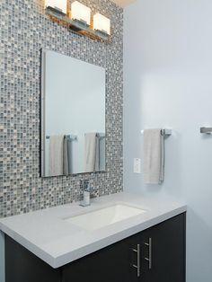 Interesting Bathroom Backsplash for Simple House : Mosaic Tile Bathroom Backsplash Design Wall Mirror Washstand