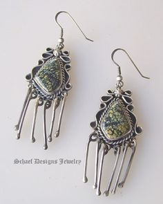Schaef Designs New Lander Turquoise & Sterling silver dangles earrings | Schaef Designs New Mexico