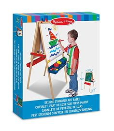 Melissa & Doug Deluxe Wooden Standing Art Easel (Arts & Crafts, Chalkboard, Dry-Erase Board, H × W × L , Great Gift for Girls and Boys - Best for 5 Year Olds and Up) Pedestal, Paper Roll Holders, Art Easel, Easy Clip, Wooden Easel, Plastic Trays, Melissa & Doug, Dry Erase Board, Tree Print