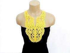 Crochet Necklace Crochet Collar Yellow FREE by HAREMDESIGN on Etsy,